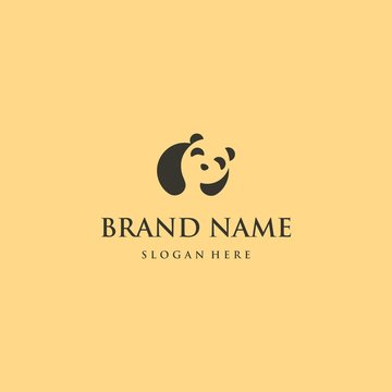 Panda Cute Illustration Silhouette Vector Logo