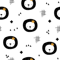 Black and white seamless pattern with lion and abstract shapes. Cute kids print. Vector hand drawn illustration.