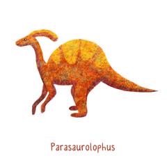 Cute kawaii Dinosaur parazaulorf blue and orange
