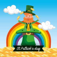 st patrick man in the hat with coins and rainbow