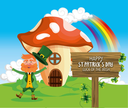 st patrick man with fungus house and rainbow