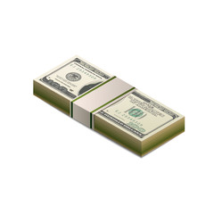 Stack of dummy one hundred US dollars banknote in isometric view on white