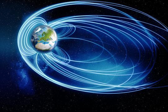 Magnetosphäre des Planeten Erde - Elements of this image furnished by NASA