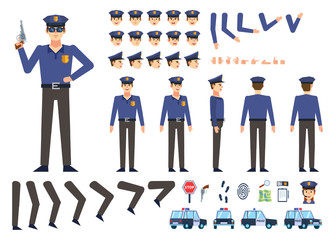 Police officer creation kit. Create your own pose, action, animation. Various emotions, gestures, design elements. Flat design vector illustration