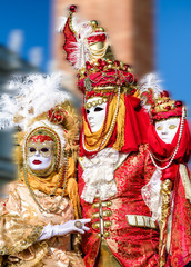 People in costumes at Venice carnival 2018, Italy