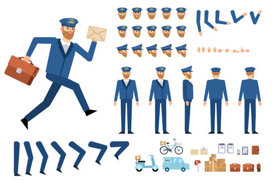 Postman creation kit. Create your own pose, action, animation. Various emotions, gestures, design elements. Flat design vector illustration