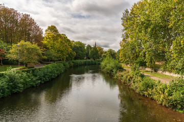 The River Tone in Taunton, Somerset, England, UK