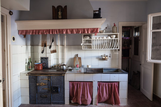 Old kitchen in a working-class neighborhood of Legazpi in the iron valley, Gipuzkoa, Spain