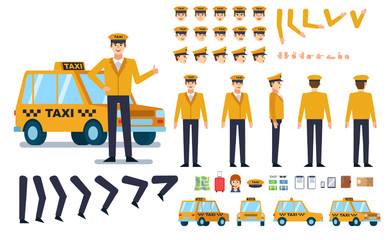 Taxi driver creation kit. Create your own pose, action, animation. Various emotions, gestures, design elements. Flat design vector illustration