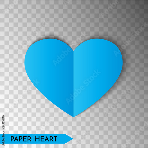 Blue paper heart isolated on transparent background  Heart
