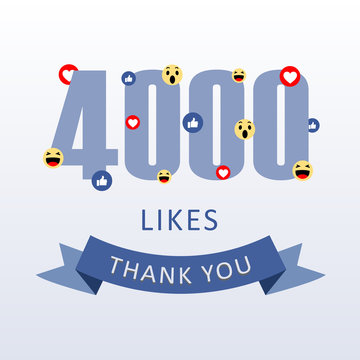 4000 Likes Thank you number with emoji and heart- social media gratitude ecard