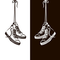 illustration with hanging on shoelaces shoes