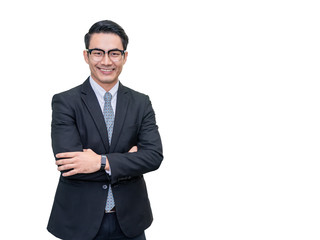 Portrait of Young handsome asian casual businessman in black suit and eyeglasses smiling  with arms crossed isolated on white background