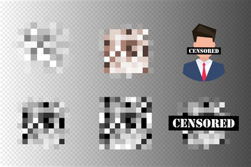 Pixel censored signs. Black censor bar concept. Censorship rectangle.