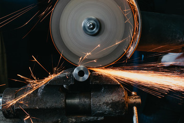 sparks from cutting metal with a circular saw