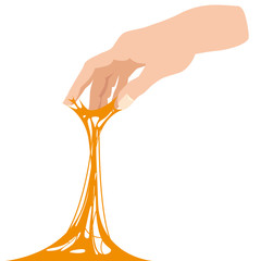 Sticky slime, reaching for stuck by the hand between fingers, white banner template. Glue Jelly The substance is sticky, tension, elasticity. Popular children s sensory toy vector illustration