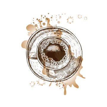 Hand drawn coffee cup with watercolor spots. Vector sketch