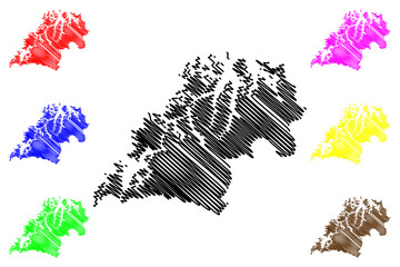 Troms (Administrative divisions of Norway, Kingdom of Norway) map vector illustration, scribble sketch Romsa fylke map