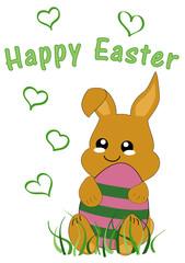 Kawaii Osterkarte mit niedlichem Hasenkind und dem Text frohe Ostern. Vektor Datei EPS 10