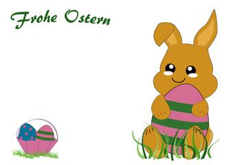 Kawaii Osterkarte mit niedlichem Hasenkind, Osterkorb und dem Text frohe Ostern. Vektor Datei EPS 10