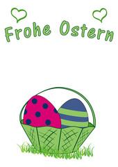 Osterkarte mit Osterkorb mit Ostereiern, und dem Text frohe Ostern. Vektor Datei EPS 10