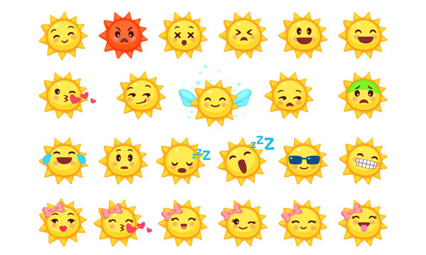 Collection of difference emoticon icon of cute sun cartoon on white background vector illustration part 2
