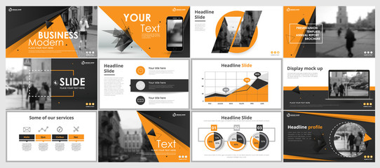 Abstract yellow, green presentation slides. Modern brochure cover design. Fancy info banner frame. Creative infographic elements set. Urban city font. Vector title sheet model. Ad flyer style template