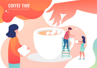 Tiny men make coffee