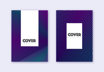 Hipster cover design template set. Neon abstract l