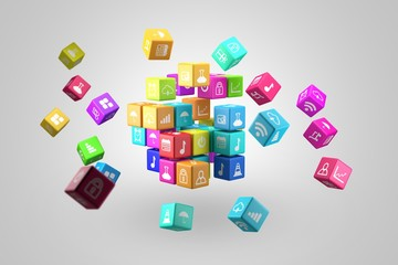 Media technology and internet networking web communication concept- Colorful icon cubes