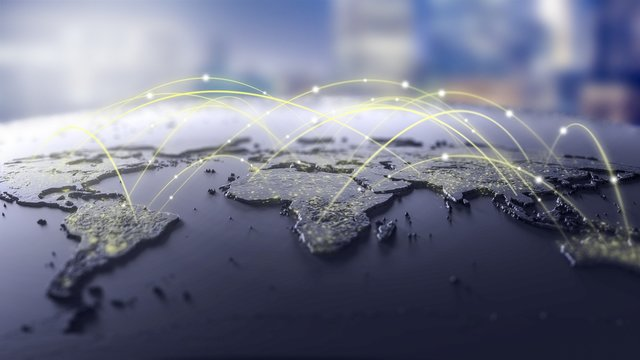 Connection lines Around map , Futuristic Technology Theme Background with Light Effect.Global International Connectivity Background.3d illustration