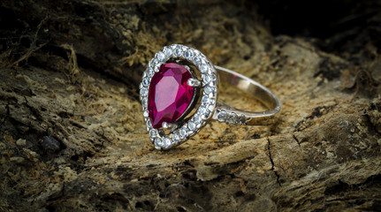 London, England - September 29, 2014: Women's Sparkling Ruby Fashion Ring