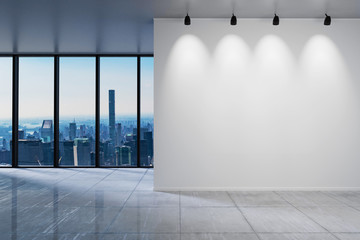 large office with blank white wall in front of panoramic window skyline view, 3D Illustration