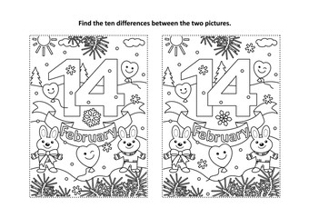 Valentine's Day find the ten differences picture puzzle and coloring page with 14 February text, cute bunnies, balloons