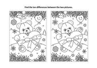 Valentine's Day find the ten differences picture puzzle and coloring page with teddy bear and big heart