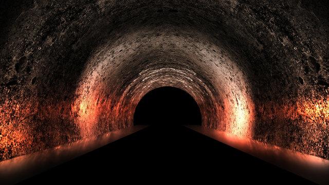 Round underground tunnel, cave, mine. Illumination by neon light. Neon light, Smoke, smog, night view. 3D rendering.