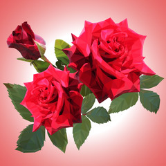 three large red roses are low poly