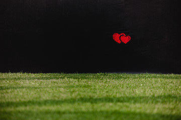Red hearts on the football field