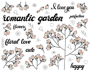 Vector set of floral branch. Doodle elements with cute pink flowers. Design for romantic greeting card or invitation background with lettering. Chery tree and buds with love lettering phrases.