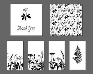 Set of different labels with wild grass. Collection with floral paper labels for announcements. Square and rectangular shapes. Template for design, greeting cards, invitations and decoration. Fern.