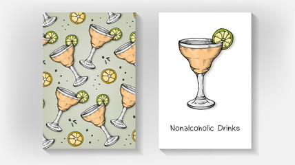 Vector Illustration of Nonalcoholic Drinks Menu Template with Cocktail Glass Sketch Style