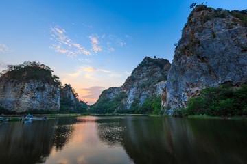 Landscape of Snake Mountain at  Ratchaburi Province, Thailand (In Thailand we call Khao Hin Ngoo)