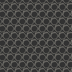 Seamless background with monochrome hexagons in 3D style. Geometric pattern. EPS10