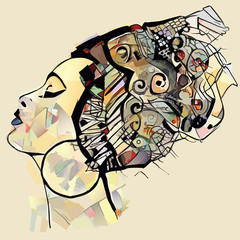 Poster de jardin Art Studio Portrait of cute african woman with hat (profile)