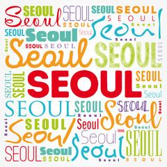 Seoul wallpaper word cloud, travel concept background