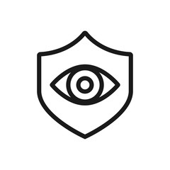 eye on shield line icon for web, mobile and infographics. Vector dark grey icon isolated on light grey background.