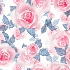 Delicate roses. Hand drawn watercolor floral seamless pattern