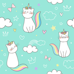 Seamless pattern kitty cat unicorn on green