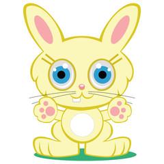 Adorable yellow baby bunny rabbit cartoon