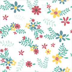 colorful spring flower pattern seamless